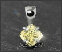 Diamant Anhänger in Fancy Yellow 0,52ct, 585 Weißgold, Naturfarbe gelb, Solitär