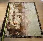 Large vintage Alaska tapestry made in Belgium boy being pull by sled dogs
