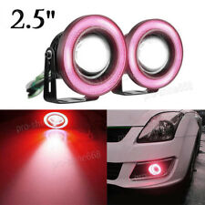 "2x 2.5"" Angel Eye RED COB Halo Ring Car SUV LED DRL Projector Lens Fog Light"