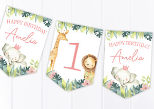 Personalised Jungle Safari Pink Happy Birthday Bunting, Children's Party Banner