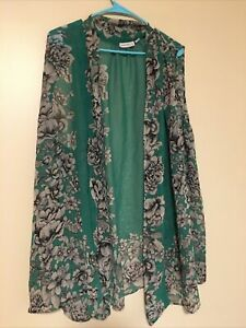 Susan Graver Green Open Sleeveless Cardigan Size 3X