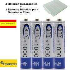 4 x AAA 1000 mAh Baterías Recargables 1.2v Bateria  NH AAA NiMh + Estuche Pilas