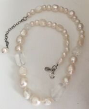 NEW~Chunky~Genuine Quartz and fresh water pearl Choker/Necklace~Sterling Silver