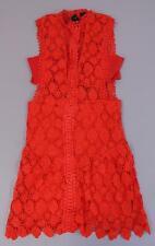 Nasty Gal Women's Sleeveless Floral Laguna Crochet Lace Dress MC7 Red Medium NWT