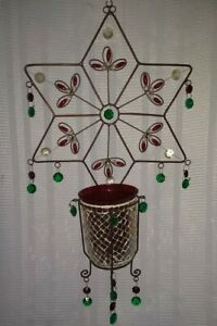 LrG wire Star Candle Holder Hanging jewels Christmas stain glass look RARE
