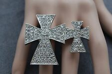 Women Silver Ring Fashion Metal Double Finger Cross Big Elastic Band Rhinestones