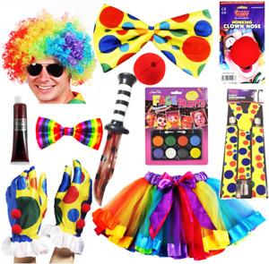 Clown Circus Fancy Dress Costume Suspenders Bow Tie TUTU Rainbow Halloween Lot