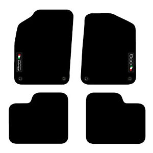 Fiat 500 2012+ Onwards Tailored Carpet Car Floor Mats with logo 4 Clips