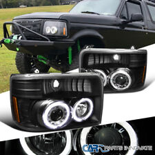 Ford 92-96 F150/F250/F350/Bronco Black LED Halo Projector Headlights Head Lamps
