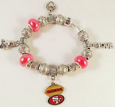 Three GLASS BEADS Official NFL SAN FRANCISCO 49ers Football Charm Bracelet RED