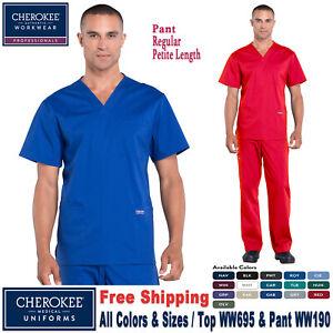 Cherokee Scrubs Set PROFESSIONAL Men's Top & Pants WW695/WW190 Regular/Petite
