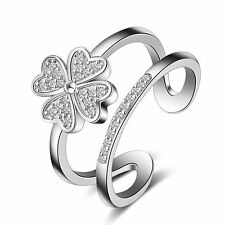 925 Sterling Silver Cubic Zirconia Clover Hollow Band Ring Size Q Adjustable
