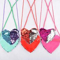Girls Shoulder Bag Kids Heart Coin Purse Sequins Handbag Shining Crossbody Baby