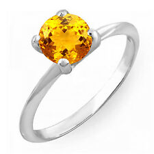 1.50 CT Sterling Silver Round Cut Citrine Solitaire Bridal Engagement Ring