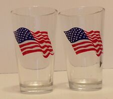 4th of July American Flag Thick Glasses 16 oz. Set of 2
