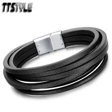TTstyle Multi Stripe Quality Black Leather 316L S.Steel Bracelet Wristband NEW