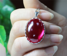 Oversize Oval Cabochon Pigeon Blood Red Ruby sterling silver Pendant Necklace