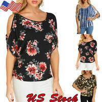 Plus Size Womens Summer Cold Shoulder Tee Top Short Sleeve Floral Casual T-Shirt