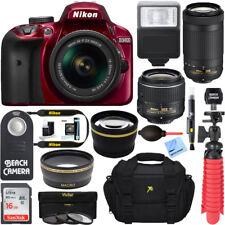 Nikon D3400 DSLR Camera + AF-P 18-55 VR & 70-300mm Dual Lens Bundle (Red)