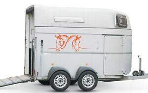 Aufkleber für Pferdeanhänger Pferde Köpfe verschiedene Größen Nr. 1 Orange