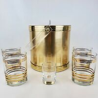 Vintage MCM Barware Set Metallic Gold Ice Bucket & 4 Gold Stripe Lowball Glasses