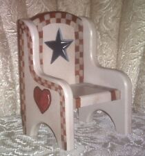 DOLL CHAIR AMERICANA/PRIMITIVE ~HAND PAINTED WOOD~ Doll-Size Furniture~