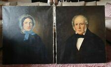 2 x Große Antike Portrait  Öl auf Leinwand, Ölbilder,Dame, Herr/70,5 x 60cm/1840