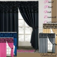 "Luxury Damask Flock Pencil Pleat Curtains 5 Colours Grey/Black 90""x90"" / 66""x72"""