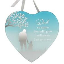 Reflections Mirror Glass Hanging Heart Plaque Gift – Dad & Daughter