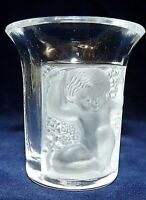 LALIQUE FRANCE SIGNED ART GLASS FROSTED ENFANTS FROSTED SHOT GLASS