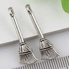 12Pcs Tibetan Silver Broom Pendants Charms 27*9mm 1A1807