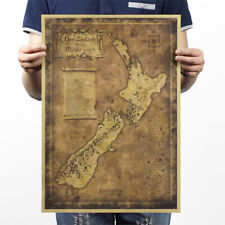 "Poster Vintage Art Decor New Zealand Antique Treasure World Map 14""x20"" Gift"