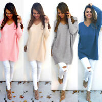 Casual Loose Long Sleeve Sweater Women Lady V-neck Knitwear Pullover Jumper Tops