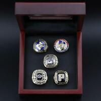 5Pcs Pittsburgh Pirates World Series Championship Rings With Wooden Display Case