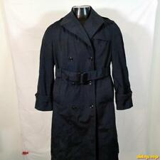 DSCP 1996 US Military Long RAINCOAT Trench Coat Womens Size 12S Black w/ liner