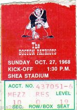 1968 BOSTON PATRIOTS @ NEW YORK JETS WORLD CHAMPIONS TICKET STUB  JOE NAMATH