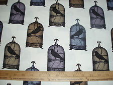 Cotton Fabric Michael Miller NEVERMORE collection JACKDAWS Crow cage MULTI BTY