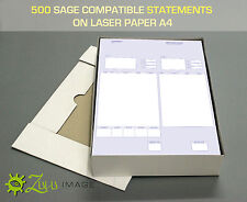 500 SAGE COMPATIBLE STATEMENT/REMITTANCE FORMS ON LASER PAPER A4 210 X 297mm