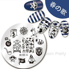 Nail Art Stamping Template Pirate Parrot Skull Image Print Plate Harunouta-31