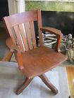Antique Vintage Swivel Wood Desk Arm Office Chair