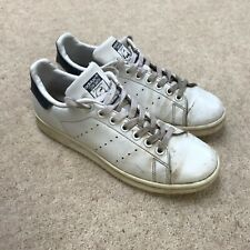 MENS WHITE LEATHER ADIDAS STAN SMITH TRAINERS UK 6 LACE UP SHOES