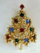 Vintage Signed Eisenberg Christmas Tree Pin Brooch Colorful Rhinestones