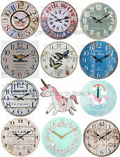 Large Wooden Wall Clock Chic Shabby Rustic Vintage Antique Style Kitchen Home