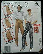 1985 McCalls 2315 Miss Size 10 Pants Sewing Pattern