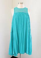 NWT $89 Crown & Ivy Turqoise Blue Eyelet Lace Trim Sleeveless Shift Dress Size S