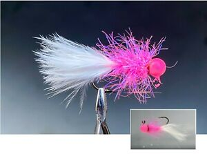 """qty3) 1/16, 1/32, 1/64 """"Buggy"""" CRAPPIE TROUT BLUEGILL hand tied jig sickle hook"""
