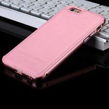 Luxury Leather Aluminum Metal Bumper Frame Skin Case For iPhone 5s 6 6s Plus
