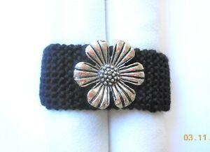 Knit, Bracelet, Cuff, Stretch, Black Yarn, Woven Handmade