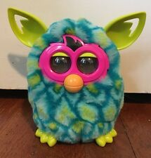 2012 Furby Boom Blue Green Peacock Feathers W/ Pink Face Tested & Working