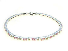 925 Sterling Silver line Bracelet set with sparkling white & Pink  stones